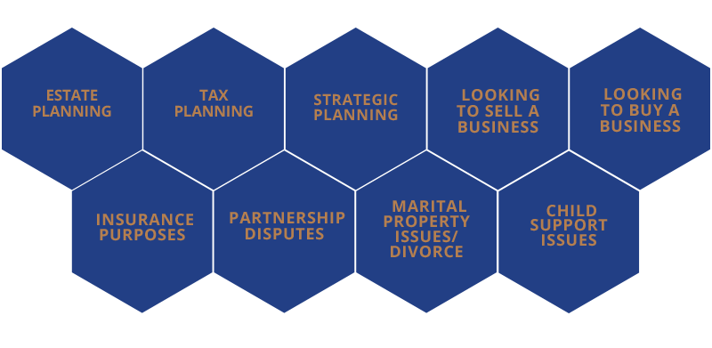 Estate planning, tax planning, strategic planning, looking to sell a business, looking to buy a business, insurance purposes, partnership disputes, marital propert issues/divorce, child support issues